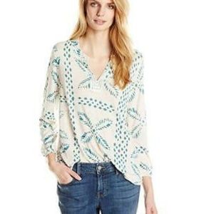 LUCKY BRAND Stitched Motif Top Blue {DD21}